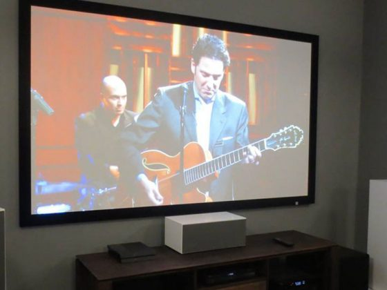 2.6m wide projection screen with 11 speakers